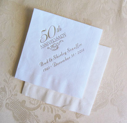 25th wedding anniversary personalized napkins